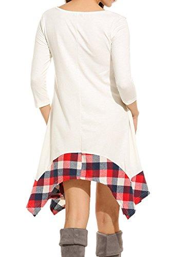 Femmes 3 / 4 Manche Écossais Patchwork Swing Drapée Tunique Chemise Robe Maxi white