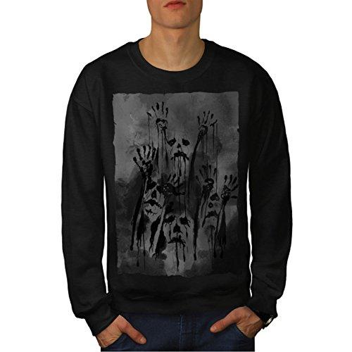 Indische Zombie Kostüm (Geist Apokalypse Zombie schaurig Grimmig Herren M Sweatshirt |)