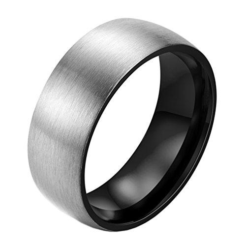 PAURO Herren Titan Stahl Matt Gebürstetem Finish 8mm Ehering Dome Ring Schwarz Größe 54