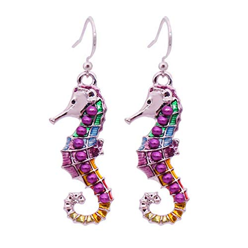 HYhy Little Seahorse Fisch Ohrringe mit Multi-Color Cloisonne Emaille Plating Schmuck für Frauen Mädchen Damen Geburtstag Hochzeit Jahrestag Geschenk