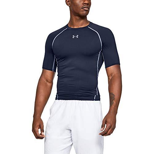 Under Armour UA HG Armour SS Camiseta, Hombre, Azul (Midnight Navy/Steel 410), M