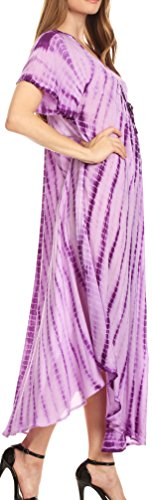 Sakkas Melika Tie Dye Caftan Dress Violet
