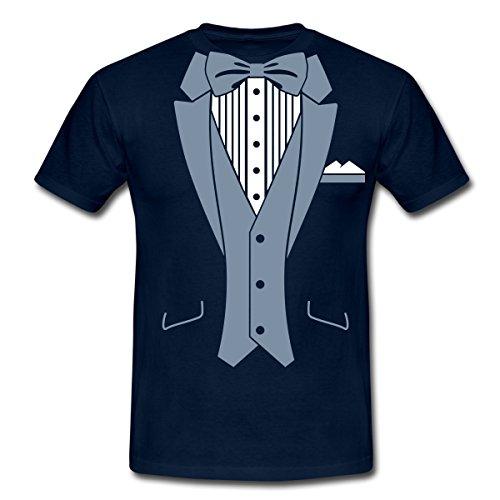 moking Männer T-Shirt, 4XL, Navy (Blau Tuxedo Kostüme Shirt)