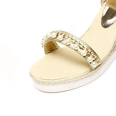 LvYuan Sandalen-Büro Kleid Lässig-maßgeschneiderte Werkstoffe Kunstleder-Keilabsatz-Komfort Neuheit Club-Schuhe-Weiß Silber Gold Gold