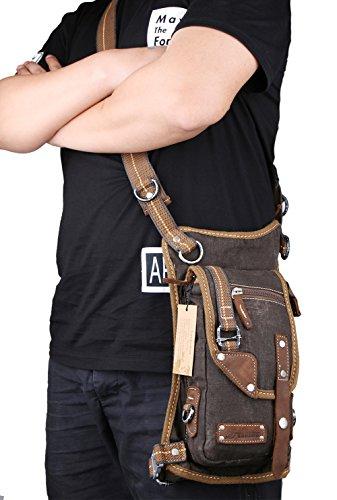 Genda 2Archer Uomini Denim Sacca da Gamba il Sacchetto Tattico Sacchetto di Cintura in Vita Caffè