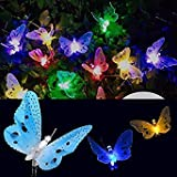 Solar Powered 5M 20LEDs Butterfly Colorful Fairy String Lights for Patio Yard Garden Christmas One Piece