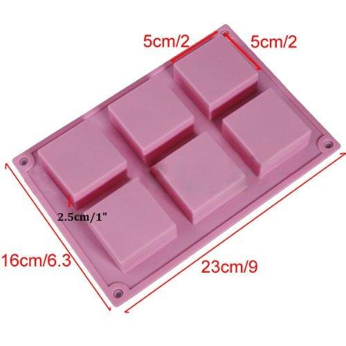 J * MYI quadratisch, 6Hohlraum, Rechteck DIY Seife Form Jelly Ice Kuchen Schokolade Silikon Formen, zufällige Farbe (Soap Mold Quadrat)