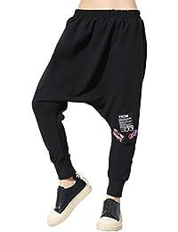 ELLAZHU Women Fashion Hight Elastic Waist Black Drop Crotch Harem Pants GY1456 A