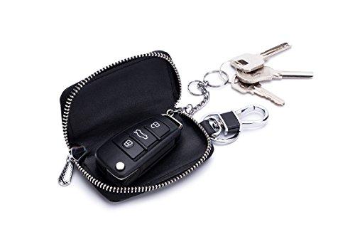 Zlover Woemn's Auto Schlüsselanhängertasche, Echtleder, Smart Coin Holder, Rot (wassermelone), Small -