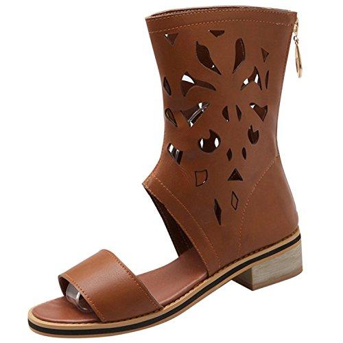 Azbro Women's Open Toe Block Heels Gladiator Mid-calf Boots Sandals Brown