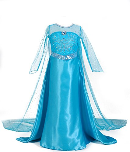 Traje del Vestido / Traje de Princesa de la nieve Vestido infantil Disfraz de Princesa de Niñas para Fiesta Carnaval Cumpleaños Cosplay (130)