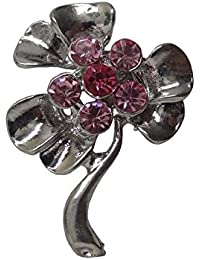 Woap Silver Polish Pink Color Crystal Stone Designer Brooch