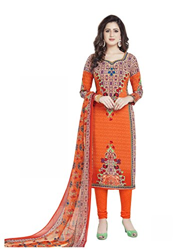 Parihar Collections Women'S Crepe Dress Material Dress Material (Nn1755_Orange_Free Size)