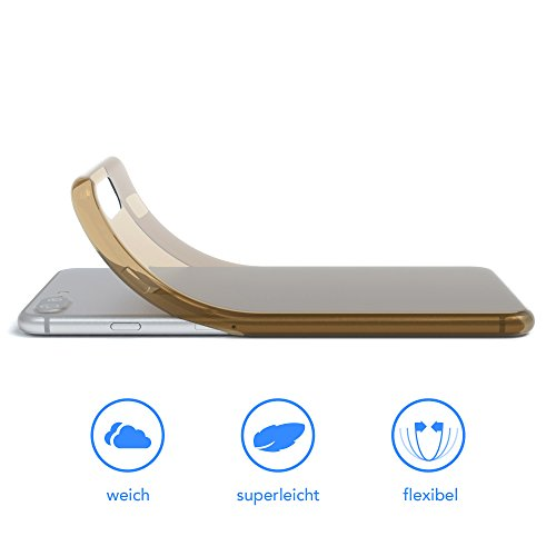 "iPhone 8+ Hülle / iPhone 7+ Hülle - EAZY CASE Premium ""CLEAR"" Slimcover Handyhülle für Apple iPhone 7 Plus & iPhone 8 Plus - Transparente Schutzhülle als Smartphone Cover in Transparent Braun"