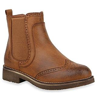 Stiefelparadies Damen Stiefeletten Chelsea Boots Leicht Gefütterte Booties Leder-Optik Schuhe Profilsohle 145835 Hellbraun Cabanas 39 Flandell