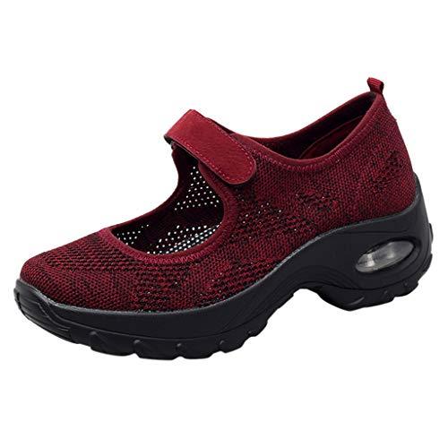 Vimoli Damen Casual Shoes Mode Trainer lässig atmungsaktiv Sport Turnschuhe Thick Bottom Shake Schuhe Laufen Atmungsaktive Schuhe Fitness Turnschuhe(Wein,40 EU)