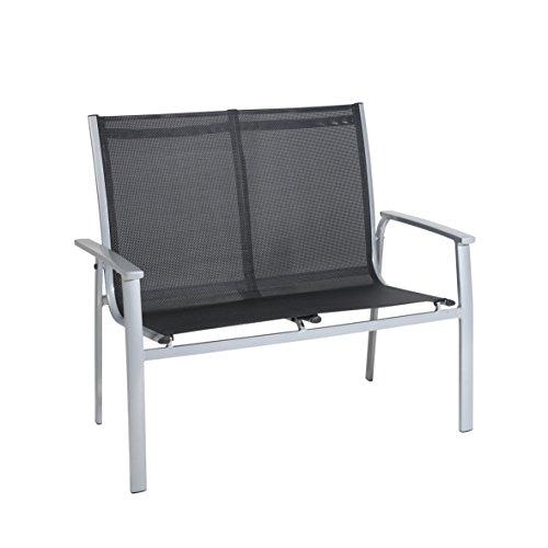 greemotion Stapelbank Monza silber/schwarz, gemütliche Gartenbank 2-Sitzer, witterungsbeständige Balkonbank mit schnelltrocknenden 4x4 Textilenefasern, Maße: ca. 63 x 111 x 97 cm