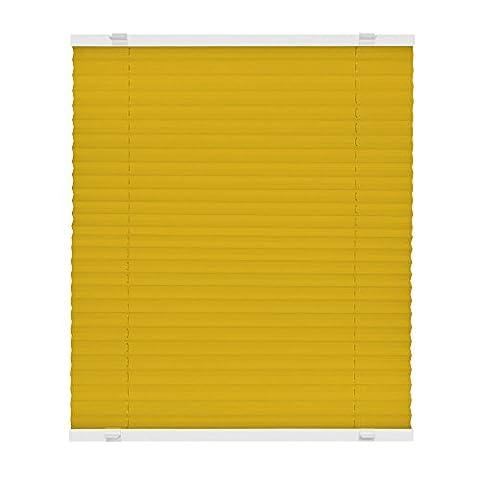 VICTORIA M Store plissé à clipser - Montage «EasyFix» sans percer- Store plissé facile à poser sans perçage, plusieurs tailles et couleurs 40 x 150 cm jaune