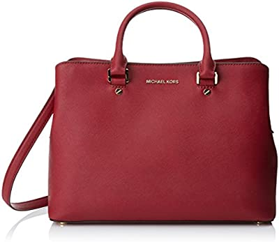Michael Kors Savannah Large Leather Satchel, Bolso Maletín para Mujer, 24x11x33 cm (W x H x L)
