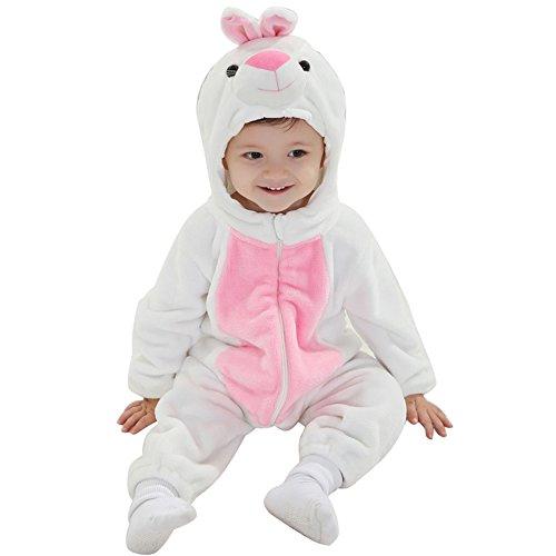 Kaninchen Junge Kostüm Weißes (M&A Baby Overall aus Fleece, baby Kostüm Kaninchen Weiß,6-12)