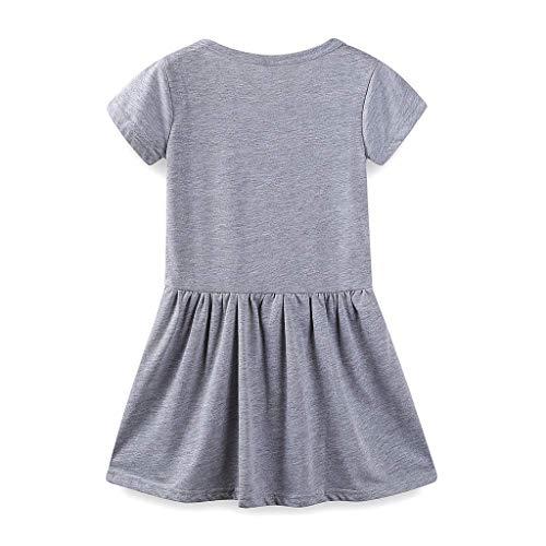 FBGood Sommer Mädchen Lässige Kleid Prinzessin Rock Kinder Rundhals Katze Ohren Drucken Kurzarm Kleidung Kleinkind Neugeborenes Spielanzug Kleid