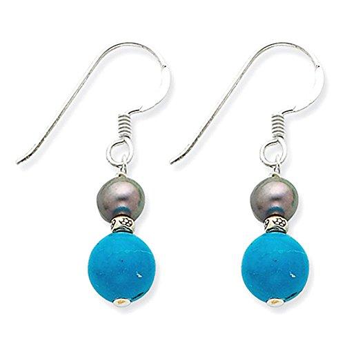 Sterling Silver FW coltivata Black Pearl e turchese ciondola gli orecchini - Black Pearl Ciondola Gli Orecchini