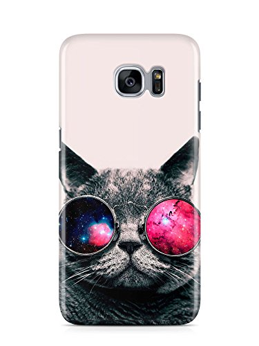 Loomiloo Cover Sonnenbrille Galaxis Universum Katze cat Handy Hülle Case 3D-Druck Top-Qualität kratzfest Samsung Galaxy S7