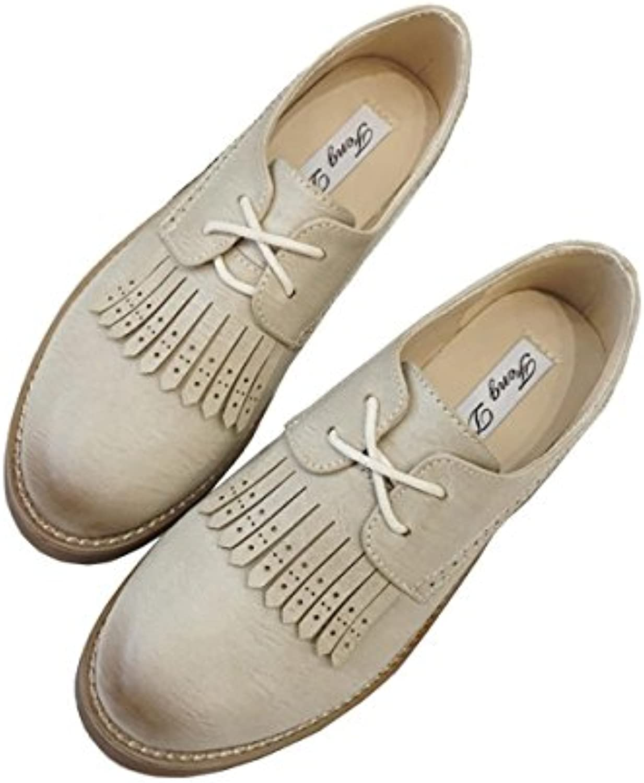 Señoras Mujeres Nuevo Ocio Pisos Zapatos sencillos Bajo talón áspero Cabeza redonda Strappy Hollow borla bombas...