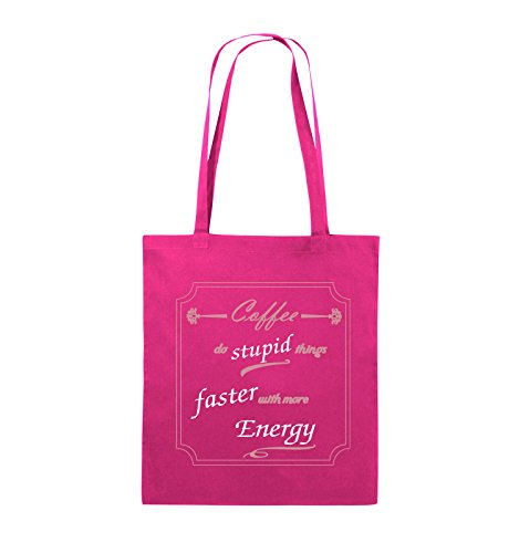 Comedy Bags - Coffee do stupid things faster with more Energy - Jutebeutel - lange Henkel - 38x42cm - Farbe: Schwarz / Weiss-Neongrün Pink / Rosa-Weiss
