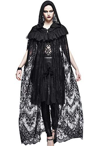 Sijux Erwachsene Frauen Halloween Black Lace Mantel Cape Halloween Ball Kleid Gothic Kostüme Cosplay One Size,Black,M