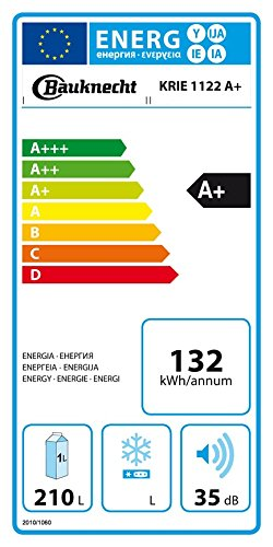 Bauknecht KRIE 1122 Kühlschrank / A+ / 122 cm Höhe / 132 kWh/Jahr / 210 L Kühlteil / Flüsterleise mit nur 35 dB / Nische 122 cm / weiß