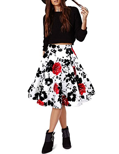 VKStar® A-Linie Vintage 1950s Sommer Damen Kurz Blumen Stoffdruck Kleid Audrey Hepburn Style Rockabilly Swing Abendkleid Cocktail Partykleid Rot Und Schwarz