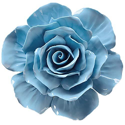 ALYCASO Wanddekoration für Wohnzimmer, Schlafzimmer, 3D-Wandkunst, Keramik, Blumen, Pedimente, Skulptur 7.08 inch blau -