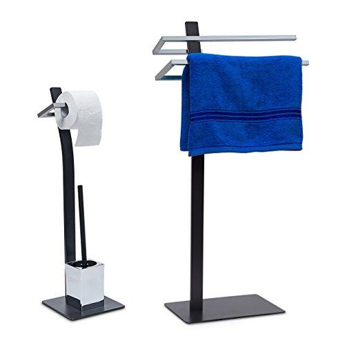 2 tlg Badezimmer Set GRAO, WC Garnitur freistehend, Handtuchhalter 2 Arme, Toilettenpapierhalter, Toilettenbürstenhalter