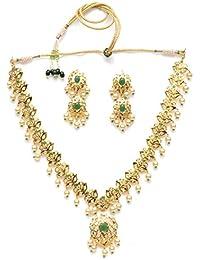 Zevarcraft Alloy Green And Gold Color Necklace Set For Women Ze-006