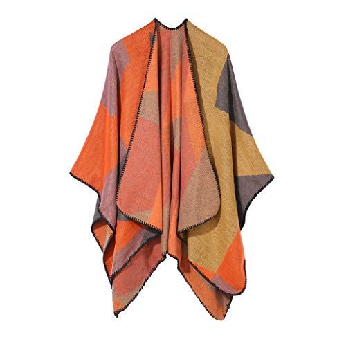 Syliababy Warm Herbst und Winter Schal, Frauen weiche Kaschmirschals stilvolle warme Decke solide Winter Schal Elegante Wrap, Damen Schal Dream Poncho-Schal mit Kaschmir (Orange) -