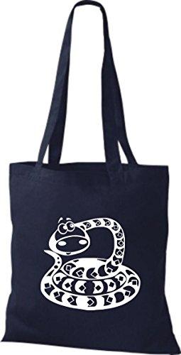 Shirtstown Stoffbeutel Tiere Schlange Snake Navy