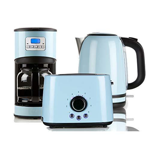 Retro Frühstücksset in pastellfarben Kaffeemaschine, Toaster und Wasserkocher (blau)