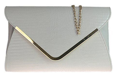 Damen-Tierdruck Croc Wohnung Umschlag-Abend-Clutch-Bag- grau (Wohnungen Grau Plaid)