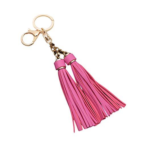 ODN Schlüsselanhänger Quaste Keychain lange Quaste Auto hängen Tasche Anhänger,Rose rote Farbe -