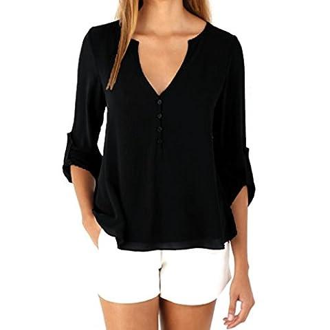 Xinantime Women Long Sleeve Loose Chiffon Blouse (M, Black)