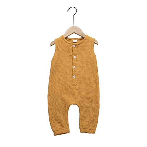Haokaini - Baby Girls Boys Sleeveless Linen Jumpsuit, Casual Buttons Romper, Playsuit for Infant Toddler