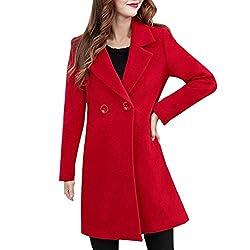 VEMOW Herbst Winter Elegante Damen Cashmere-Like Dicker Jacke Outwear Parka Cardigan Casual Täglichen Business Schlank Mantel(Rot, 40 DE/L CN)