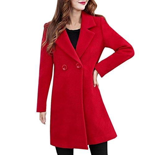 VEMOW Herbst Winter Elegante Damen Cashmere-Like Dicker Jacke Outwear Parka Cardigan Casual Täglichen Business Schlank Mantel(Rot, EU-44/CN-2XL)
