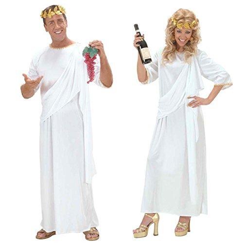 hin Kostüm weiß L UNISEX Griechische Göttin Kleid Antike Kostüm Römerinkostüm Römer Grieche Senator (Römischer Senator Toga)