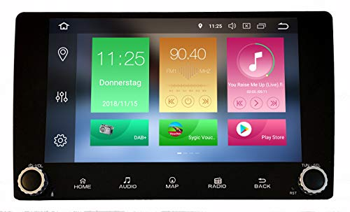 M.I.C. AV9 Android Autoradio Navigation 9 Zoll Bildschirm 8 Core 4G+32G DAB+ Digitalradio Bluetooth USB Mirrorlink Sygic GPS Verkehrsinfo CAM MQB-Canbus für neu Volkswagen Seat Skoda