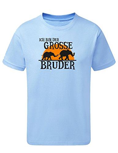 Kinder T-Shirt: Elefant Ich Bin Der Großer Bruder T-Shirt - Geschenk für werdender Bruder - Kleinkinder T-Shirt Blau Jungen mit Aufdruck (116 5-6 Jahre)
