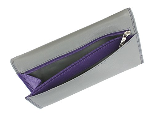 Portafoglio da Donna in Pelle Mala Leather Collezione TABITHA con Protezione RFID 3272_77 Rosa Grigio