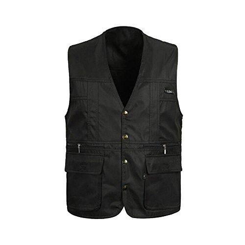 MagiDeal Men Reversible Casual Safari Vest Multi Pockets Waistcoat Fishing Hiking Jacket Travelling Accessory XL Black