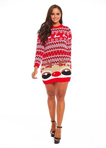 LOOKS FUNNY Premium Lustig Lange Weihnachtspullover Weihnachtspulli Long Pullis Strickpullover im Tunika-Stil für Damen mit weihnachtlichen Motiven, XS - XXXL Rot-03